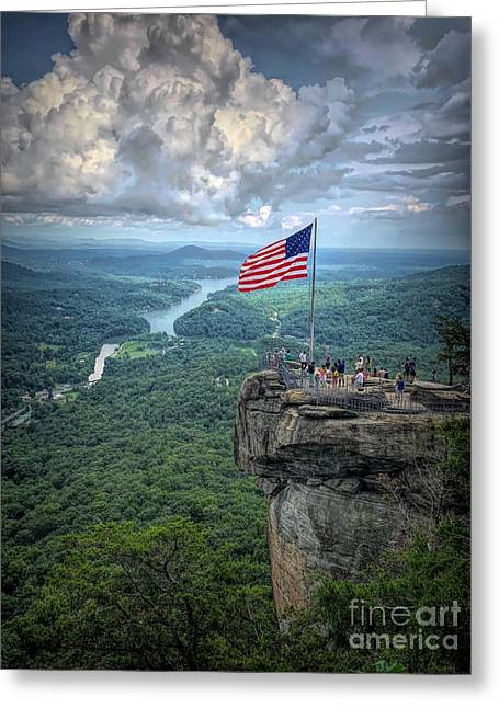 Old Glory On The Rock Greeting Card
