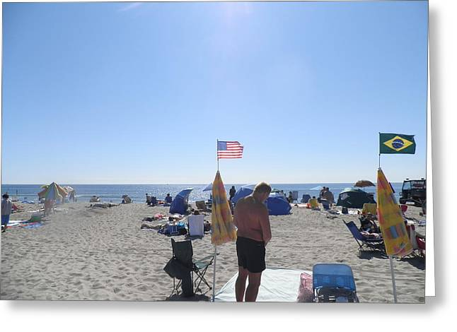 Old Glory Over The Ocean Greeting Card