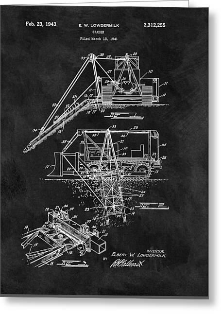 Old Grader Patent Greeting Card by Dan Sproul