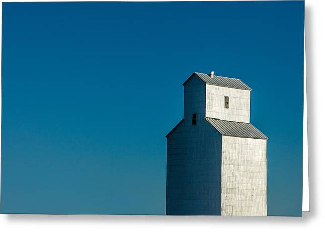 Old Grain Elevator Against Steel Blue Sky Greeting Card