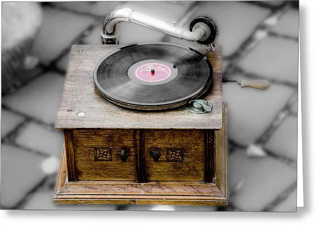 Old Gramophone Greeting Card