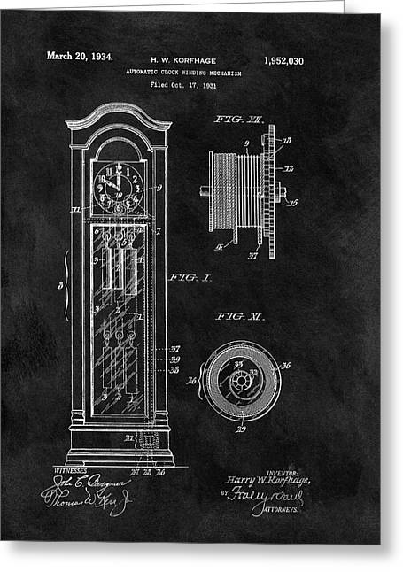 Old Grandfather Clock Patent Greeting Card