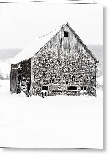 Greeting Card featuring the photograph Old Gray Barn In A Snow Storm Grantham Nh by Edward Fielding