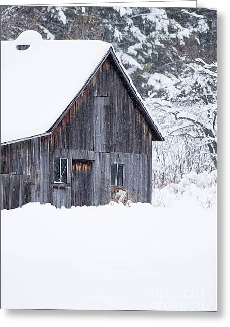 Greeting Card featuring the photograph Old Gray Barn In The Snow Etna New Hampshire by Edward Fielding