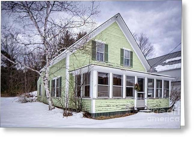Greeting Card featuring the photograph Old Green And White New Englander Home by Edward Fielding