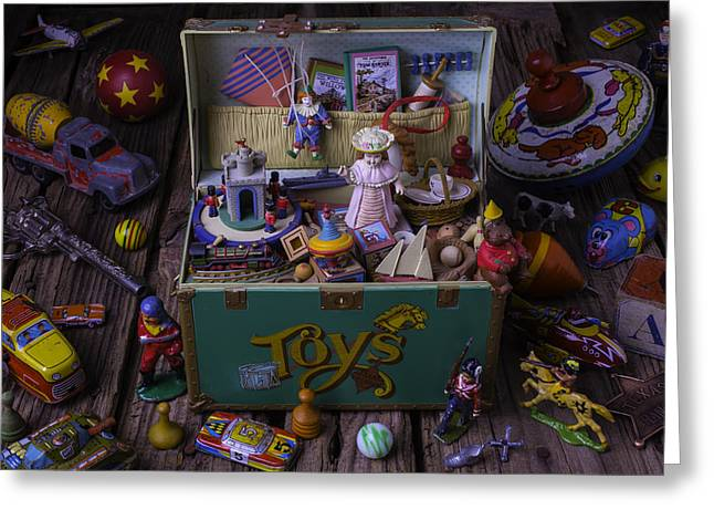 Old Green Toy Box Greeting Card by Garry Gay