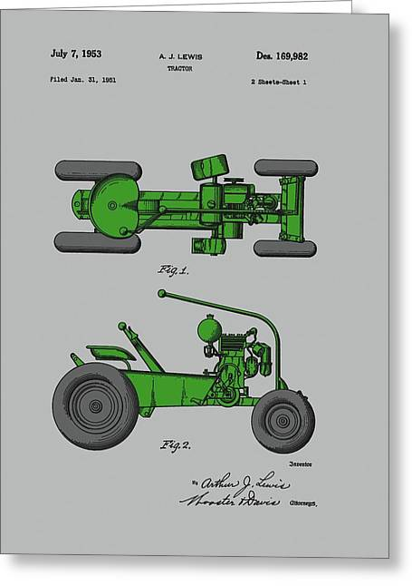 Old Green Tractor Patent Greeting Card by Dan Sproul