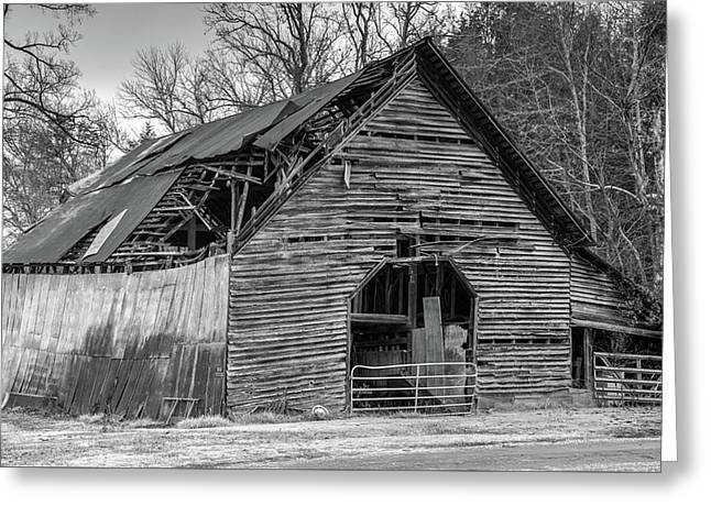 Old Grey Barn With Collapsed Roof Greeting Card by Douglas Barnett