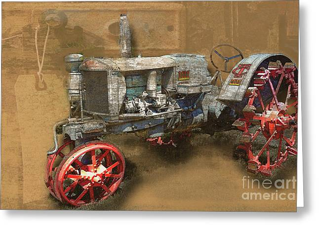 Old Grey Tractor Greeting Card