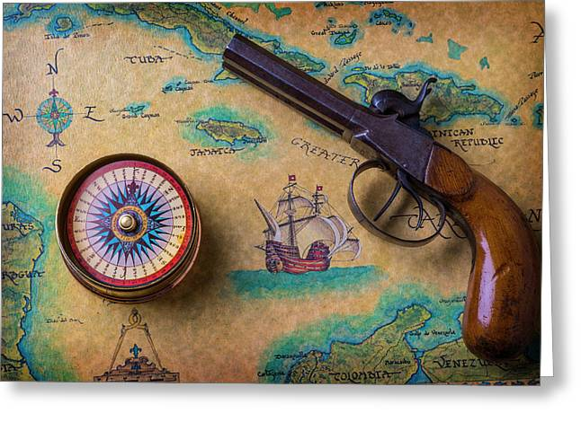 Old Gun And Compass On Map Greeting Card