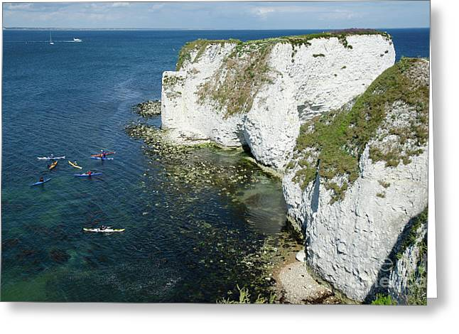 Old Harry Rocks Sea Kayak Tour Visiting The White Jurassic Cliffs On The Dorset Coast England Uk Greeting Card by Andy Smy