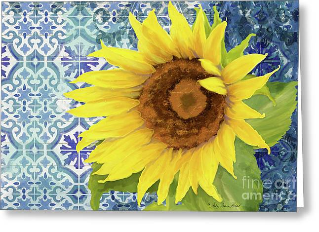 Greeting Card featuring the painting Old Havana Sunflower - Cobalt Blue Tile Painted Over Wood by Audrey Jeanne Roberts
