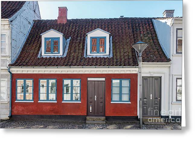 Old Homes In Cobbled Streets In Odense, The City Of Hans Christi Greeting Card by Frank Bach