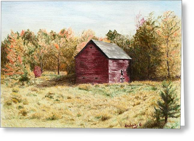 Old Barn Drawing Greeting Cards - Old Homestead Barn Greeting Card by Kathy Roberts