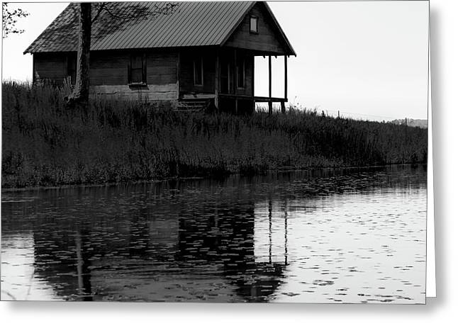 Old Homestead Reflections - Black And White Greeting Card