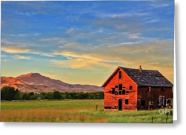 Old Homestead With Squaw Butte Greeting Card