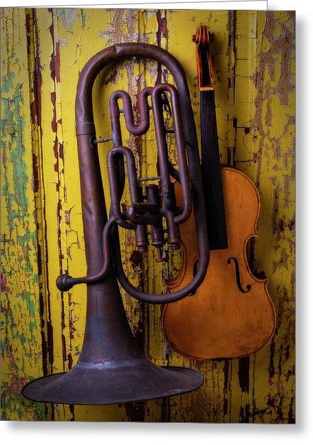 Old Horn And Violin Greeting Card by Garry Gay