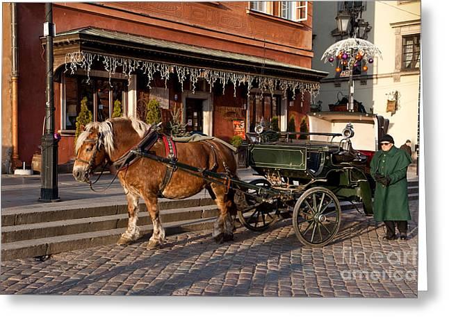 Old Horse And Green Britzka Greeting Card by Arletta Cwalina