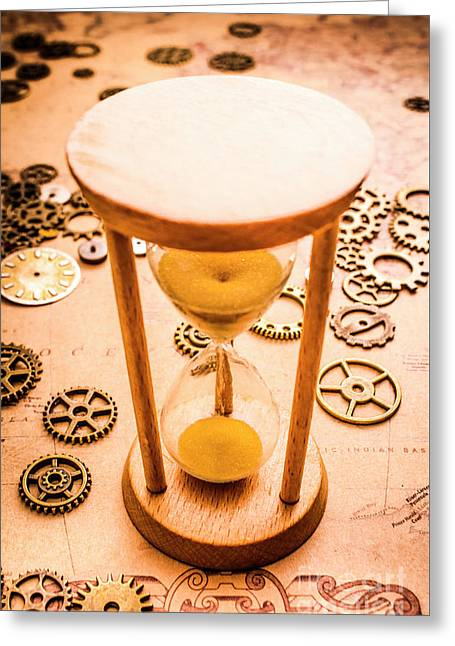 Old Hourglass Near Clock Gears On Old Map Greeting Card