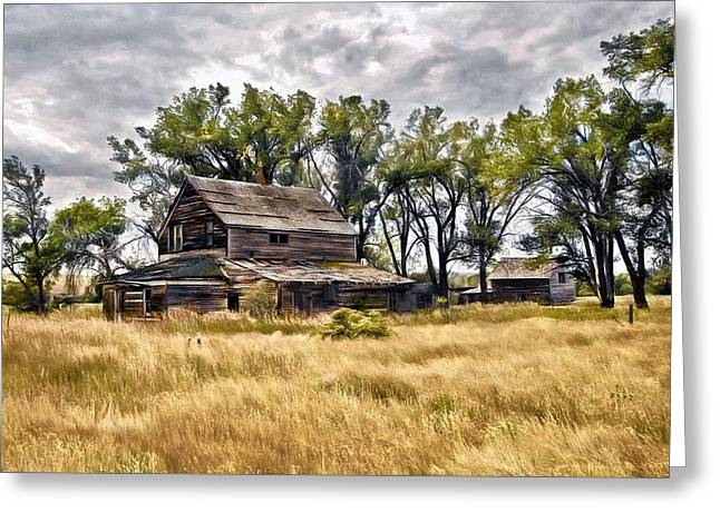 Greeting Card featuring the digital art Old House And Barn by James Steele