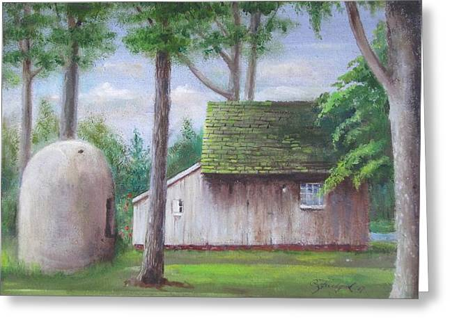 Greeting Card featuring the painting Old House And Oven by Oz Freedgood