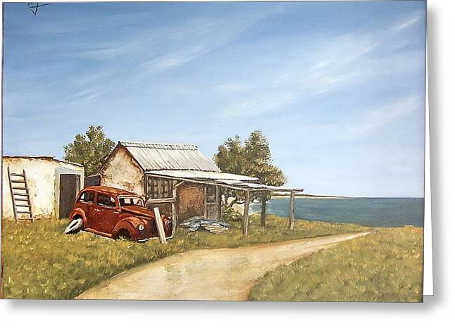 Old House By The Sea Greeting Card by Natalia Tejera