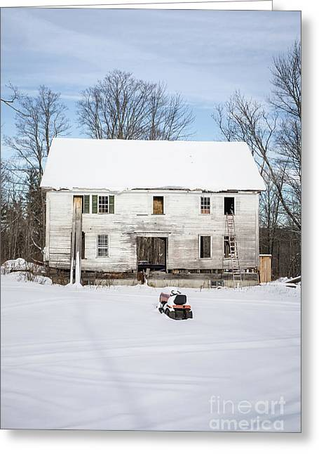 Old House In The Snow Springfield New Hampshire Greeting Card