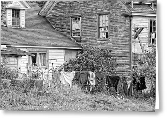 Old House With Laundry Black And White Photograph Greeting Card
