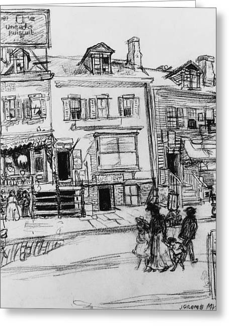 Old Houses, Clinton Street, New York Greeting Card by Jerome Myers