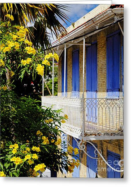 Old House With A Balcony In Charlotte Amalie Greeting Card by George Oze