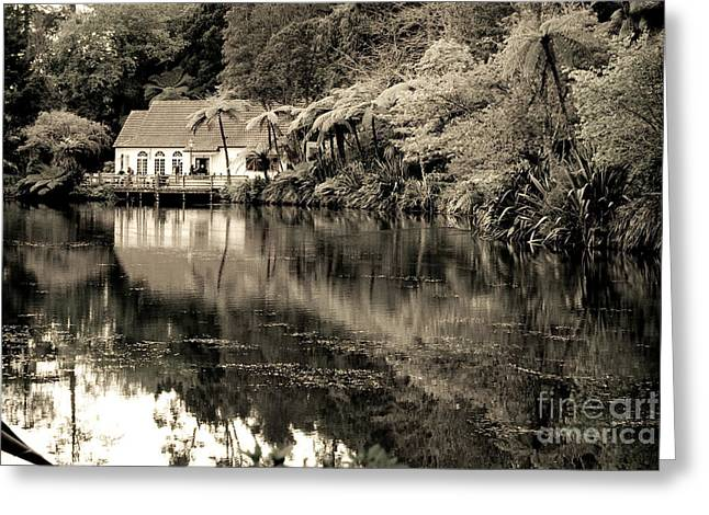 Greeting Card featuring the photograph Old Hut By The Bush Lake by Yurix Sardinelly