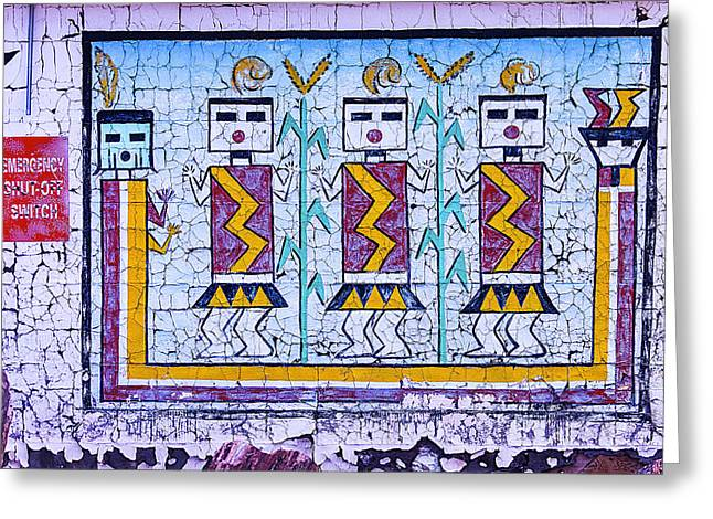 Old Indian Mural Greeting Card by Garry Gay