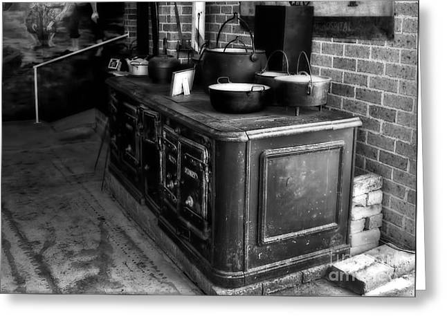 Old Iron Stove - Oven By Kaye Menner Greeting Card