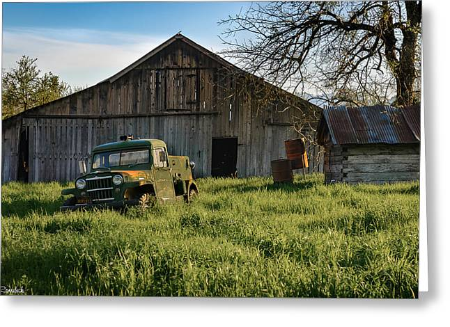 Old Jeep, Old Barn Greeting Card