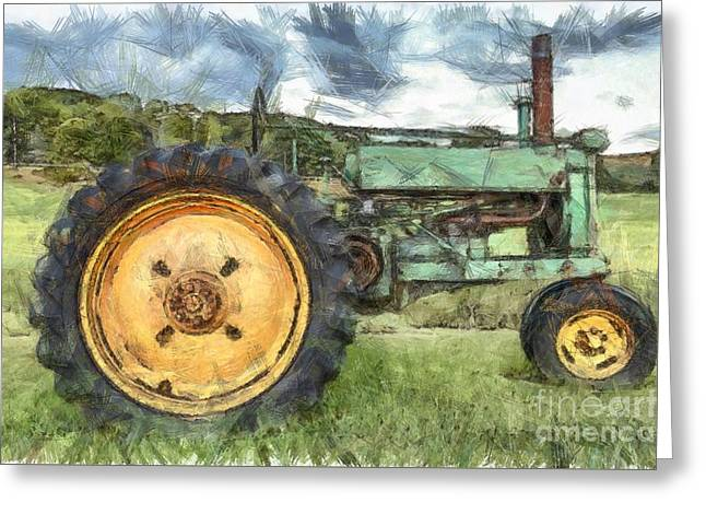 Old John Deere Tractor Pencil Greeting Card by Edward Fielding