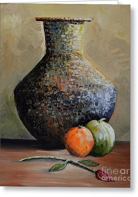Old Jug And Fruit Greeting Card by Martin Schmidt