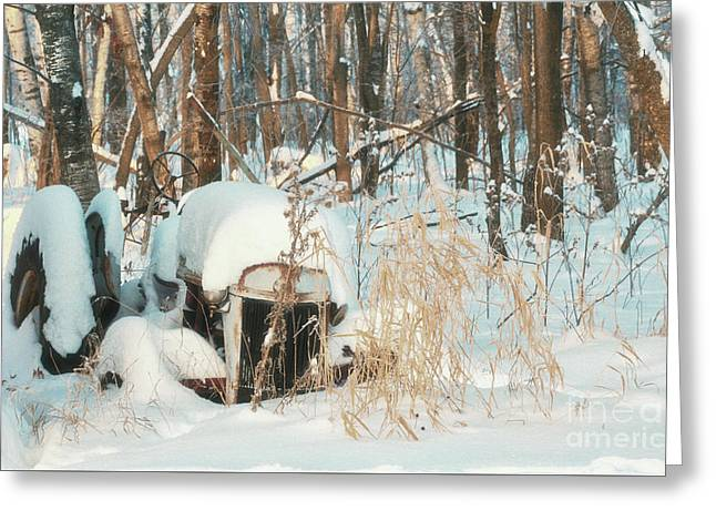 Old Junk Tractor In The Drifting Snow Greeting Card