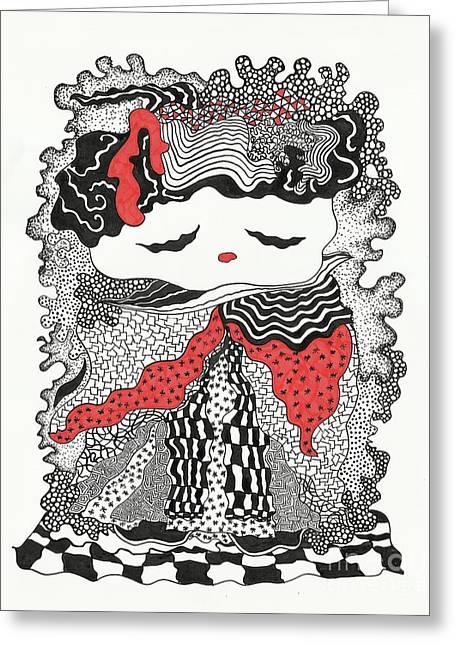 Old Lady Greeting Card by Fla Arakaki