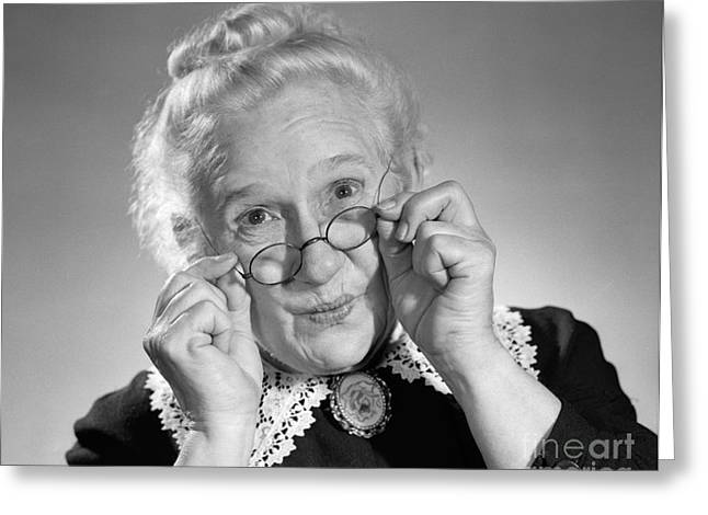 Old Lady Holding Her Glasses, C.1950s Greeting Card by Debrocke/ClassicStock