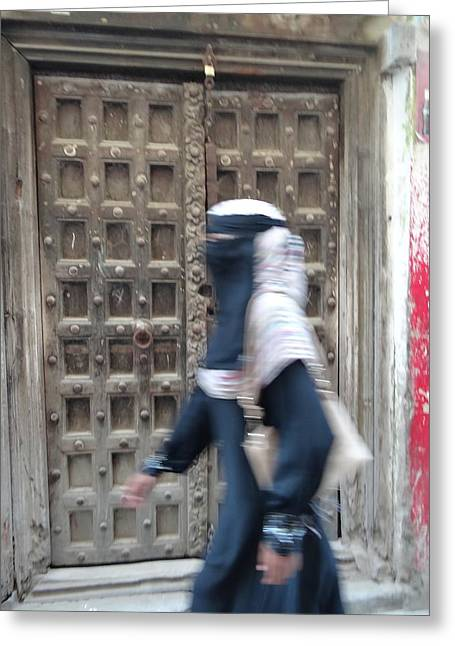 Old Lamu Town Muslim Woman Walking Greeting Card by Exploramum Exploramum