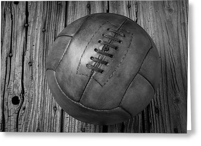 Old Leather Football Black And White Greeting Card by Garry Gay