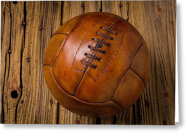 Old Leather Football Greeting Card by Garry Gay