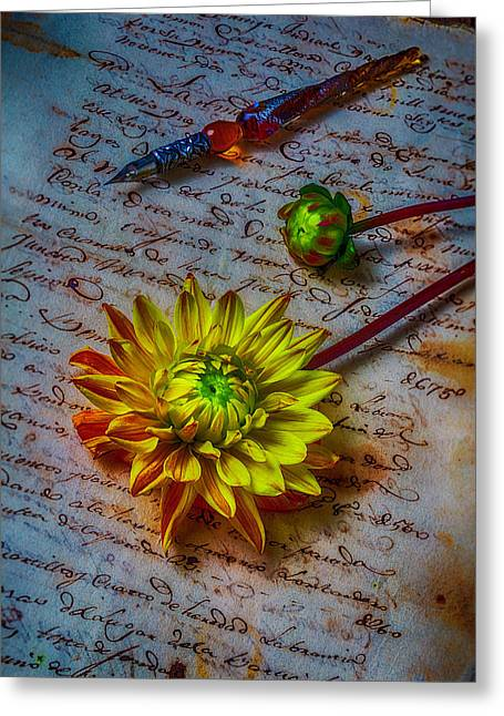 Old Letter And Dahlia Greeting Card