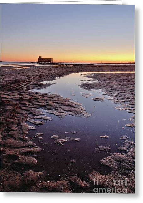 Old Lifesavers Building At Twilight Greeting Card by Angelo DeVal