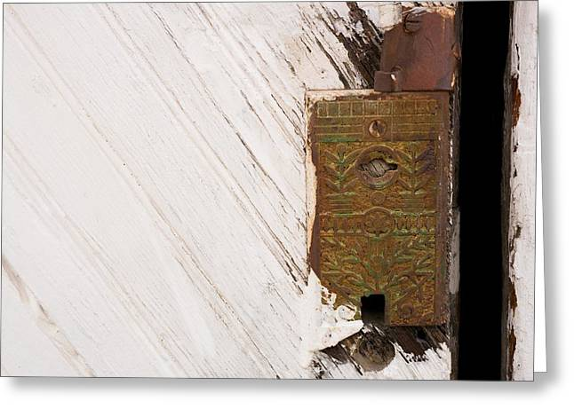 Old Lock On Garage Door Greeting Card