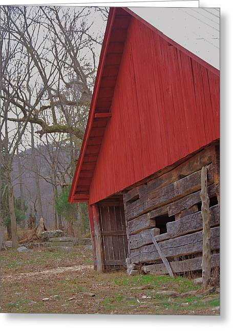 Greeting Card featuring the photograph Old Log Barn by Debbie Karnes