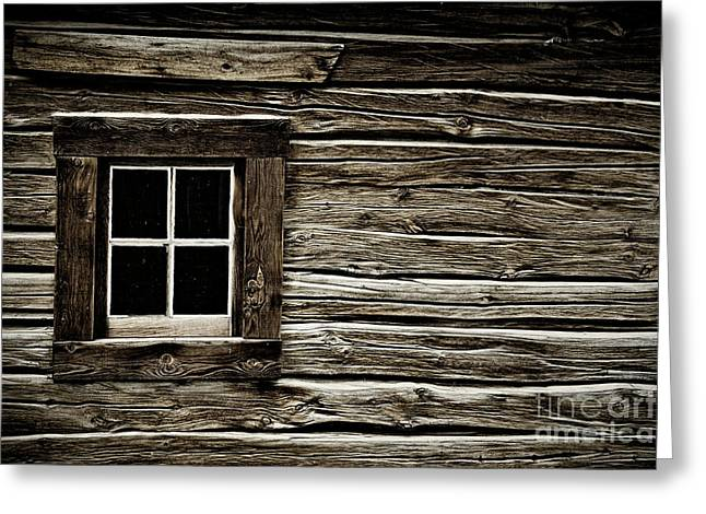 Greeting Card featuring the photograph Old Log Cabin by Brad Allen Fine Art