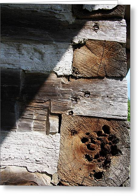 Greeting Card featuring the photograph Old Log House Detail by Joanne Coyle