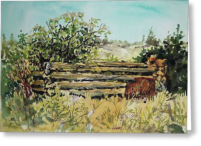 Wa Paintings Greeting Cards - Old Log Shed Greeting Card by Lynne Haines