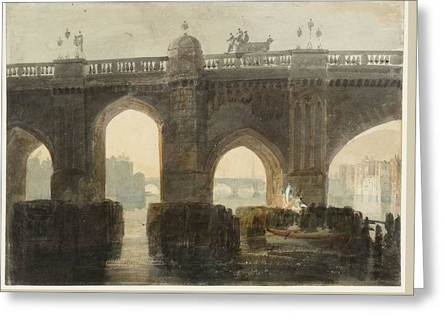 Old London Bridge Greeting Card by Joseph Mallord